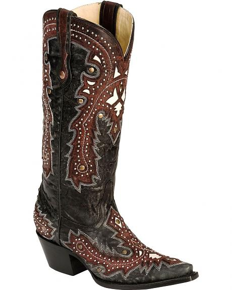 Corral Overlay Studded Cowgirl Boots - Snip Toe