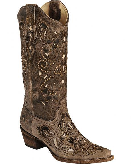 Corral Crater Bone Studs & Inlay boots