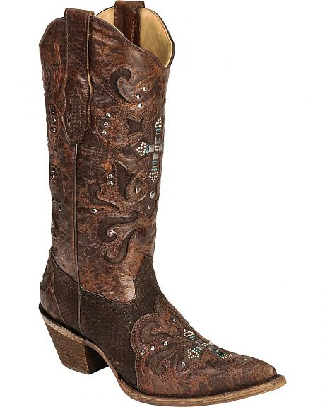 Corral Crystal Cross Python Cowgirl Boots - Pointed Toe