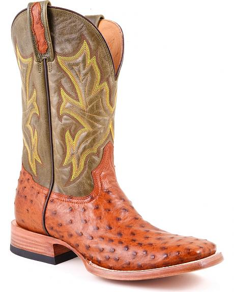Stetson Full Quill Ostrich Mad Dog Leather Cowgirl Boots - Square Toe
