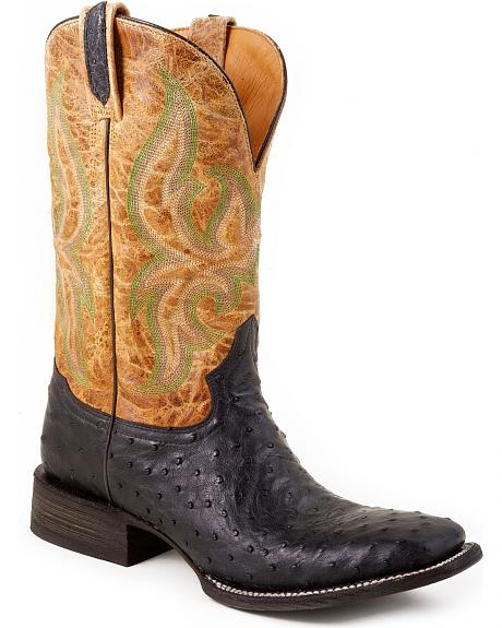 Stetson Black Ostrich Cowgirl Boots - Square Toe