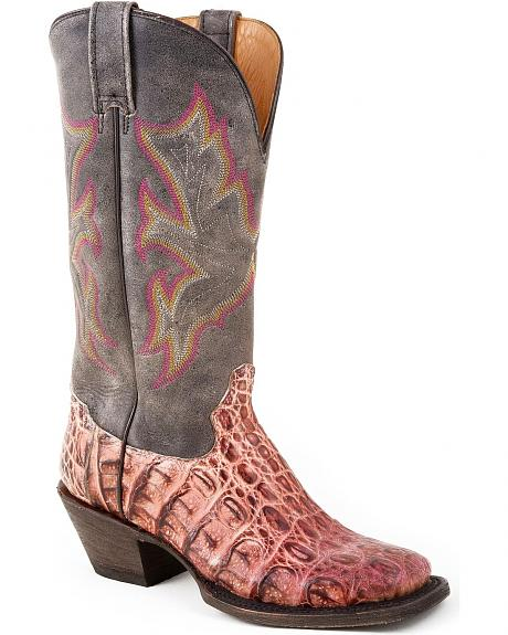 Stetson Distressed Pink & Grey Caiman Cowgirl Boots - Square Toe