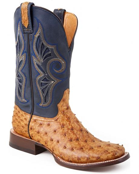 Stetson Mad Dog Camel Ostrich Cowgirl Boots - Square Toe
