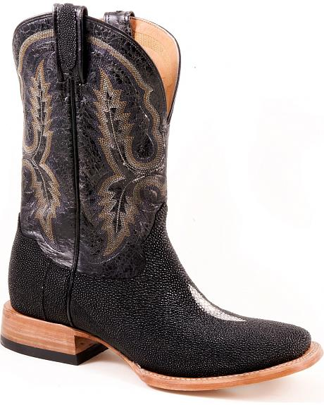 Stetson Black Stingray Cowgirl Boots - Square Toe
