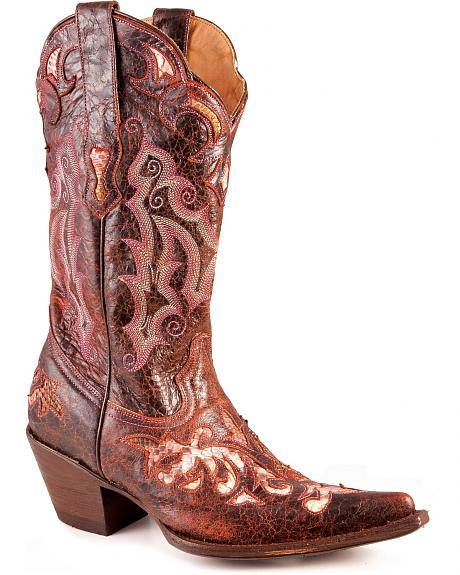 Stetson Wine Distressed Underlay Python Cowgirl Boots - Pointed Toe