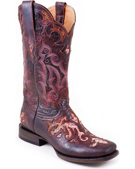 Stetson Distressed Python Inlay Cowgirl Boots - Square Toe