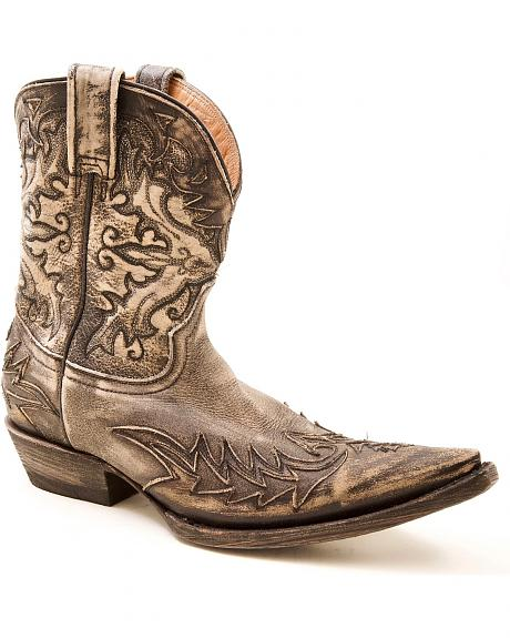 Stetson Short Distressed & Washed Overlay Cowgirl Boots - Pointed Toe