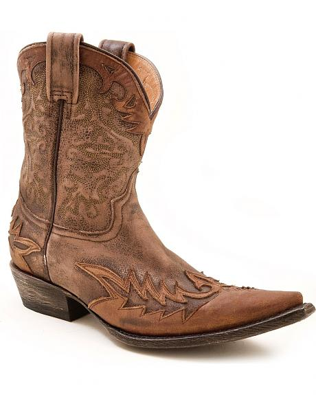 Stetson Short Brown Distressed & Washed Overlay Cowgirl Boots - Pointed Toe