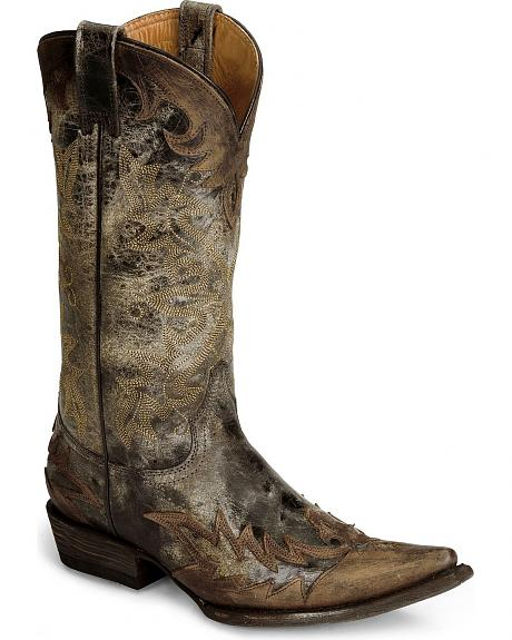 Stetson Brown Stonewashed Wingtip Cowgirl Boots - Snip Toe