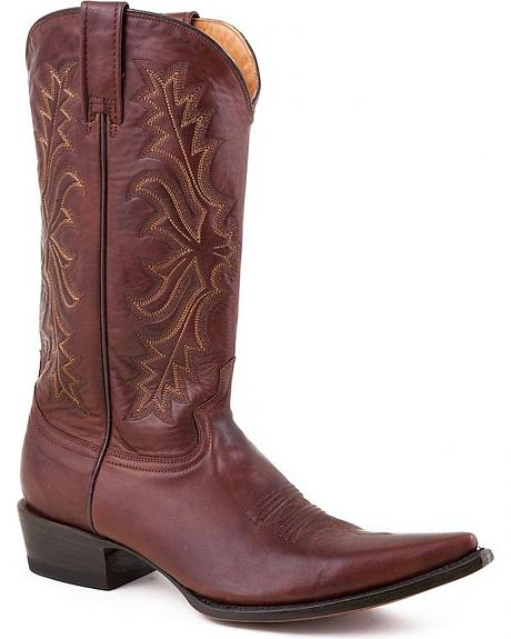Stetson Hand Burnished Ficcini Cafe Cowgirl Boots - Pointed Toe