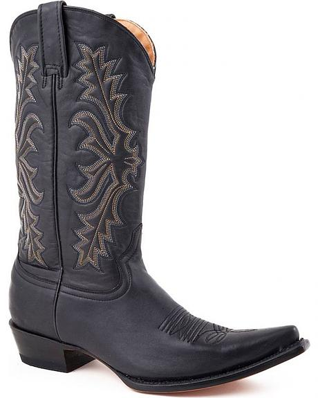 Stetson Hand Burnished Black Ficcini Cowgirl Boots - Pointed Toe