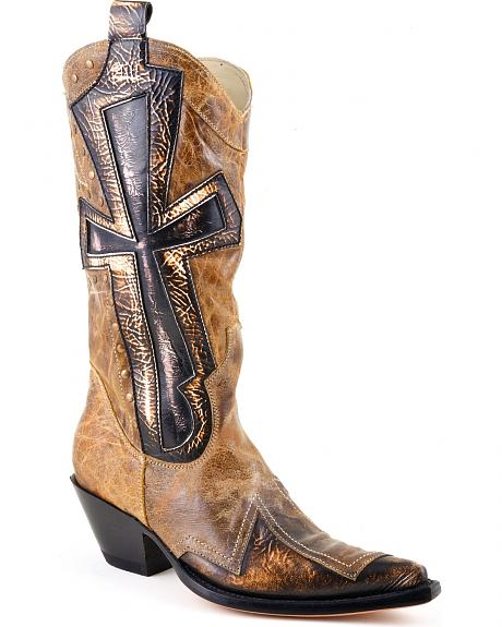 Stetson Cross Overlay & Rivets Cowgirl Boots - Pointed Toe