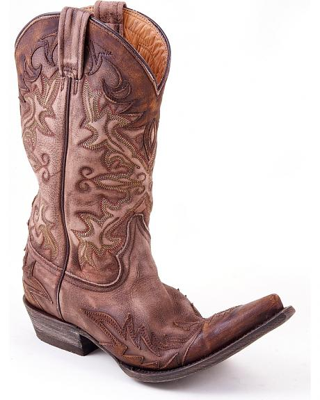 Stetson Distressed & Washed Brown Overlay Cowgirl Boots - Pointed Toe