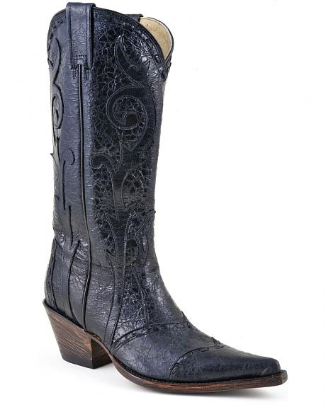 Stetson Black Crackle Lace Overlay Cowgirl Boots - Pointed Toe
