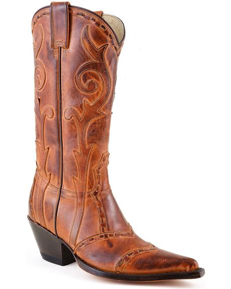 Stetson Antique Tan Lace Overlay Cowgirl Boots - Pointed Toe