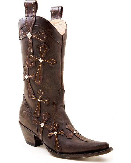 Stetson Oiled Leather Cross Applique Cowgirl Boots - Pointed Toe