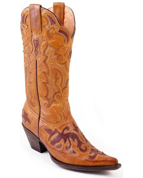 Stetson Leather Inlay Cowgirl Boots - Pointed Toe