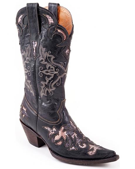 Stetson Black Python Inlay Cowgirl Boots - Pointed Toe
