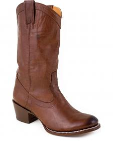 Stetson Hand Burnished Cafe Ficcini Cowgirl Boots - Round Toe