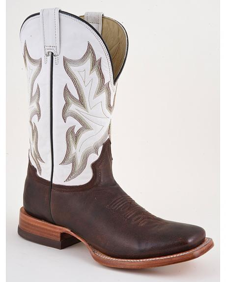 Stetson White Fancy Stitched Roper Cowgirl Boots - Square Toe