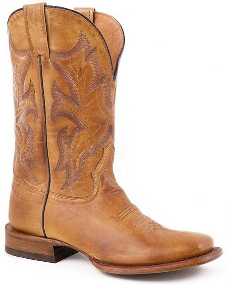 Stetson Tan Hand Burnished Ficcini Tan Cowgirl Boots - Square Toe