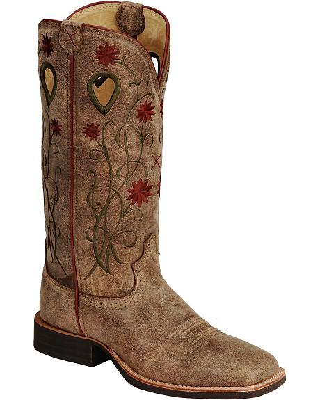 Twisted X Floral Stitched Roughstock Cowgirl Boots - Wide Square Toe