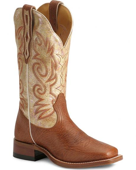 Boulet Cream Shaft Cowgirl Boots - Square Toe
