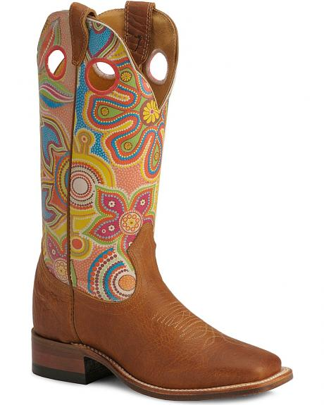 Boulet Hippie Print Cowgirl Boots -- Square Toe