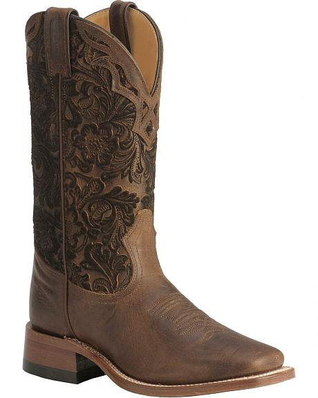 Boulet Hand Tooled Shaft Cowgirl Boots - Square Toe
