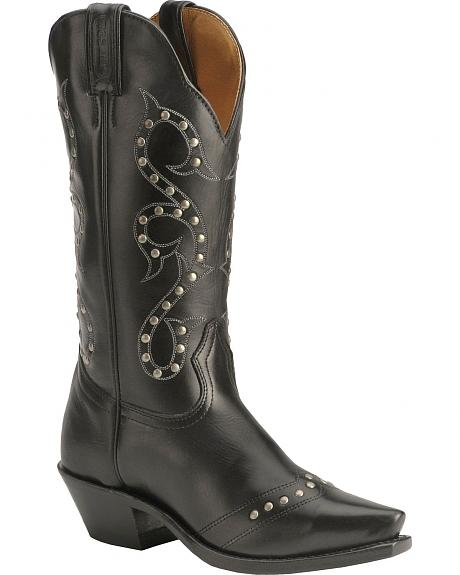 Boulet Silver-Tone Studded Cowgirl Boots - Snip Toe