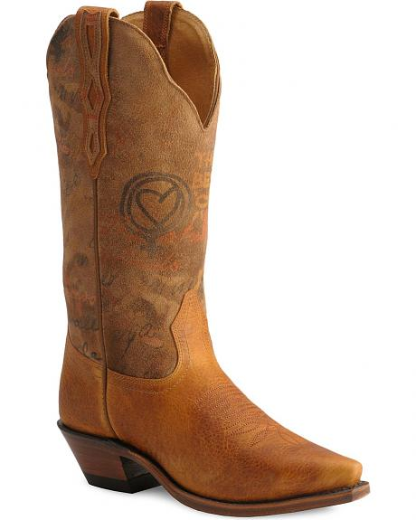 Boulet Graffiti Print Cowgirl Boots - Snip Toe
