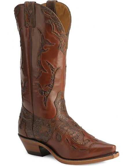 Boulet Hand Tooled Inlay Cowgirl Boots - Snip Toe
