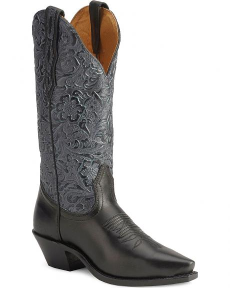 Boulet Blue Tooled Cowgirl Boots - Snip Toe