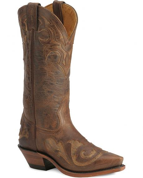 Boulet Distressed Cutout Cowgirl Boots - Snip Toe
