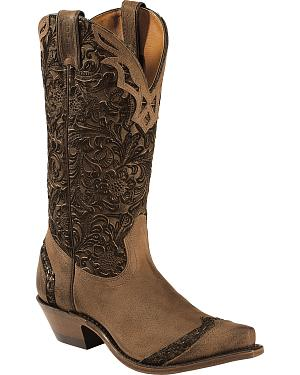 Boulet Fancy Hand Tooled Inlay Cowgirl Boots - Snip Toe