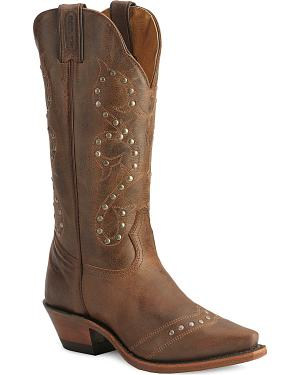 Boulet Studded & Distressed Leather Cowgirl Boots - Snip Toe