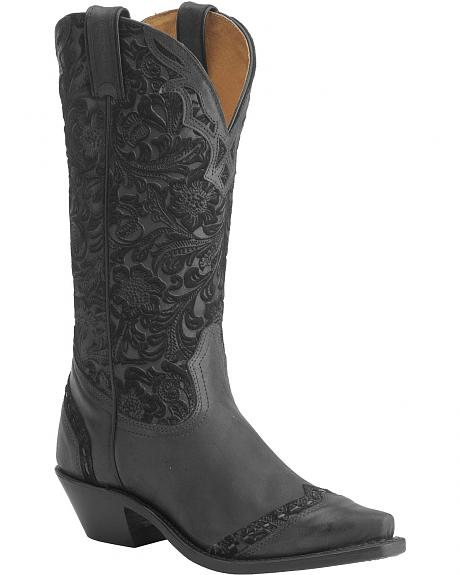 Boulet Tooled Midnight Cowgirl Boots - Snip Toe