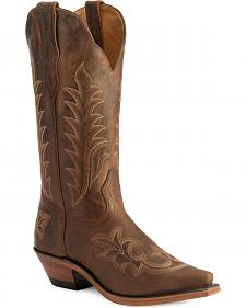 Boulet Fancy Stitched Vamp & Shaft Cowgirl Boots - Snip Toe