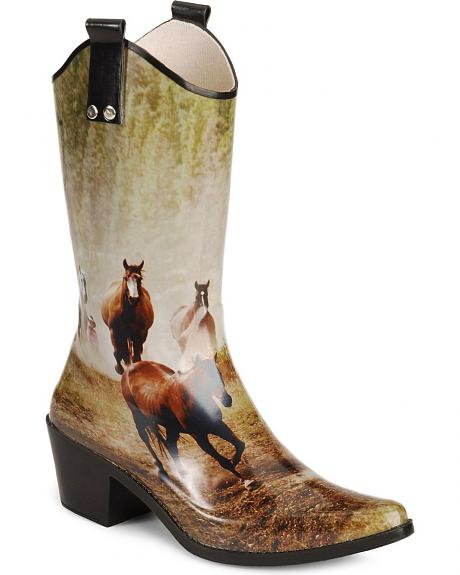 Smoky Mountain Horse Print Rubber Cowgirl Rain Boots