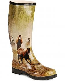 Smoky Mountain Running Horses Tall Rubber Rain Boots