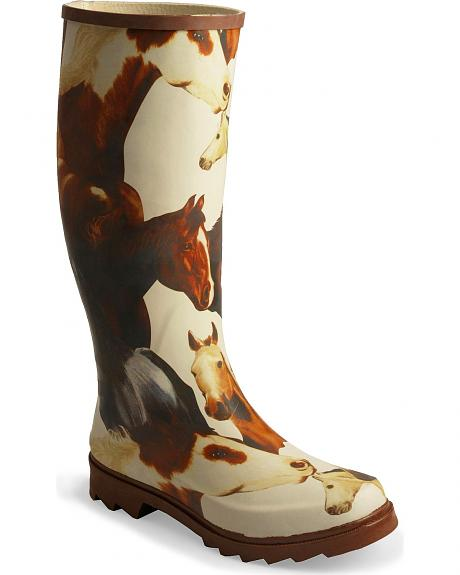 Smoky Mountain Mustang Print Tall Rubber Rain Boots