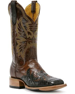 Cinch Classic Cigar Caiman Wingtip Cowgirl Boots - Square Toe
