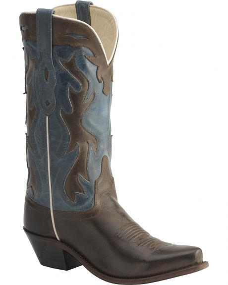Old West Jama Vintage Inlay Shaft Cowgirl Boots - Snip Toe