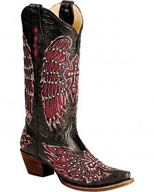 Corral Fuschia Wing Inlay & Cross Embroidery Cowgirl Boots - Snip Toe