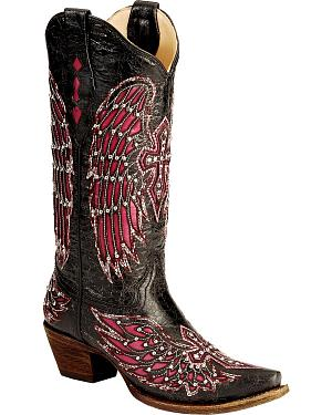 Corral Fuchsia Wing Inlay & Cross Embroidery Cowgirl Boots - Snip Toe