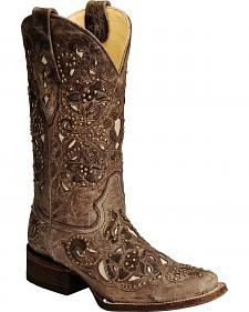 Corral Studded Bone Inlay Crater Cowgirl Boots - Square Toe