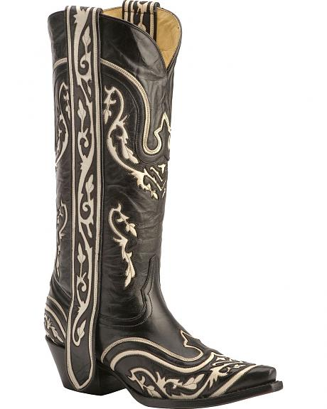 Corral Black & Bone Inlay w/Ear Pull Strap Cowgirl Boots - Snip Toe