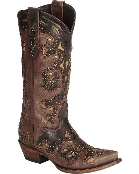 Lucchese Handcrafted 1883 Studded Fiona Cowgirl Boots - Snip Toe