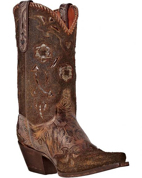 Dan Post Floral Tooled Sanded Cowgirl Boots - Snip Toe