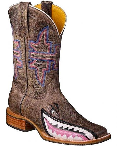 Tin Haul Man Eater Shark Cowgirl Boots - Square Toe
